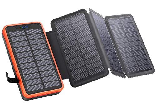 Elzle Solar PowerBank 26800mAh, Solar Ladegerät mit 4 Sonnenkollektoren, Taschenlampe, Zwei 5V / 2.1A USB-Ports Externer Akku Kompatibel mit Smartphones, Tablets Outdoor Camping