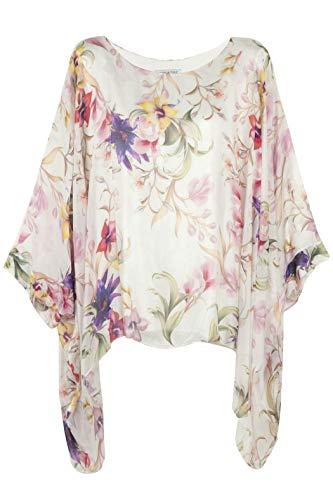 64667b4caf31e7 Cara Mia Seiden-Tunika Bluse für Damen Made in Italy Fledermaus-Ärmel  Blumen 38 40 42 44