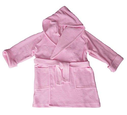 Preisvergleich Produktbild Dkaren Weicher Bademantel mit Kapuze für Jungen und Mädchen in 3 Farben, Größe 152cm, Rosa