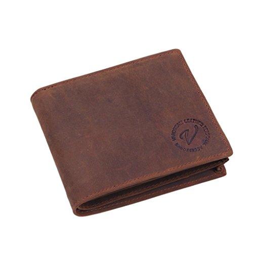 Mode Hombres Piel Cartera multifuncional Monedero de piel Tarjeta carpeta marrón marrón B
