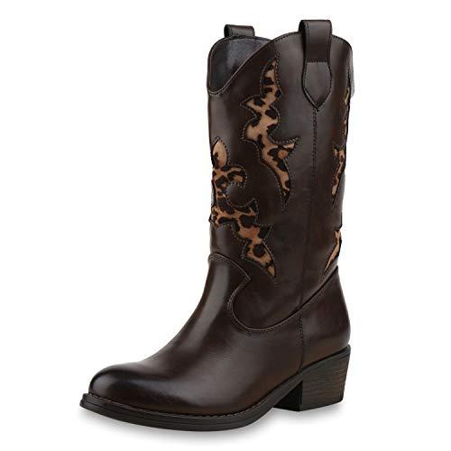SCARPE VITA Damen Cowboystiefel Gefütterte Western Stiefel Leo Cowboy Boots 173445 Braun 38 (Leder Stiefel Damen Cowboy)