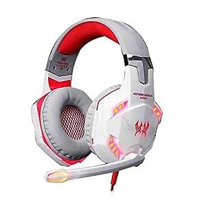 AFUNTA CHAQUE 3.5mm stéréo + USB G2000 plug Led Alimentation confortable Over-Ear jeu Gaming Casque écouteur stéréo Bandeau avec Mic Basse LED professionnel pour les joueurs PC Jeux PC - Blanc + Rouge