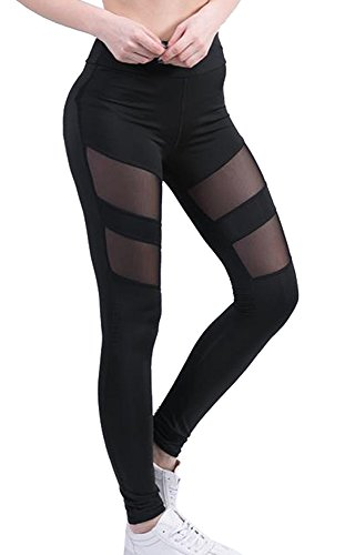 Mangotree Classic Damen Tech Mesh Sport Leggins Skinny Tube Camo Trousers Hipsters Stretch Hose Workout Tights Yoga Pants (A#Schwarz, M:...