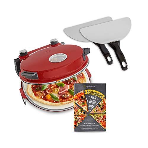 Pizzaofen Peppo 1200W, Pizzamaker, Minibackofen elektrisch für Pizza & Brot 350°C, Timer - Pizzaofen Rot