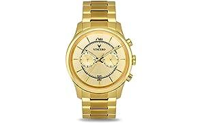 Vincero Luxus Bellwether Herren Armbanduhr - Goldfarbenes Zifferblatt mit goldfarbenem Edelstahlarmband - 43mm Chronograph Uhr - Japanisches Quarz Uhrwerk