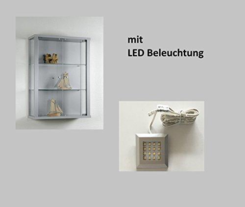 Hängevitrine Glasvitrine Sammelvitrine Hängeschrank Vitrine Silber/Alu Dekor mit LED Beleuchtung