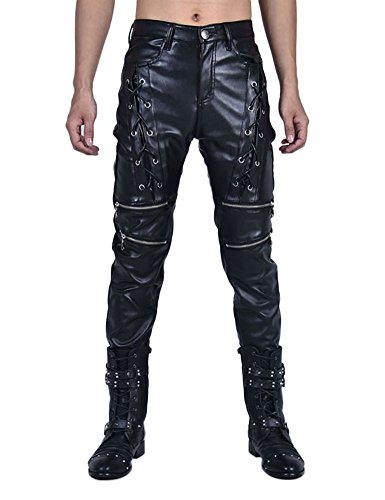 Idopy Männer `s Biker Style schwarz Kunstleder Hose vorne Lace UP Hosen, Schwarz, W36 90cm(35.4inch) -