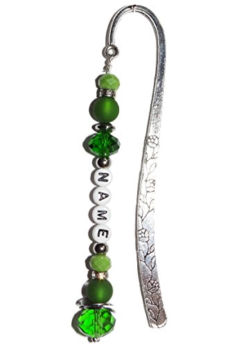 Made ARTemlos segnalibro con nome; in metallo, acciaio inox e perline in verde