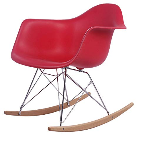 Wandun-Stools Schaukelstuhl Rocking Chair Rocker Schaukelsessel Rocking Chair Rocker Schaukelsessel Relaxstuhl Küchenhocker Wohnzimmer Leisure Armchair Buche Beine (Color : Rot) -
