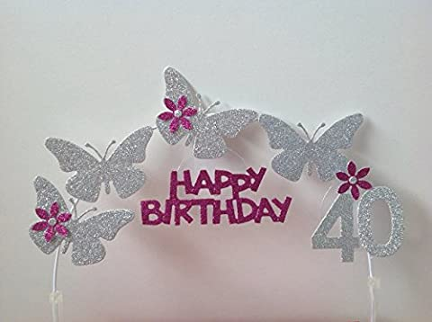 Cake Decoration, Butterfly Arch, Silver, 18th, 21st, 30th, 40th, 50th, 60th, 70th, 80th, 90th