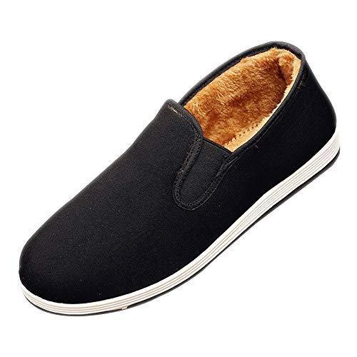 DAZISEN Herren Winter Kampfsportschuhe - Warme Kung Fu Tai Chi Schuhe Slippers Schuhe, Schwarz Sohle, CN46(Fußlänge:280mm)
