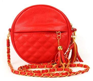 MJJKIO Frauen Taschen Runde Plaid Mädchen Umhängetasche Marke Leder Umhängetaschen Quaste Kette Dame Handtaschen rot -