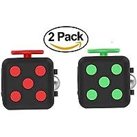 Fidget Cube 2 Pack - Alivia el estrés - Anti Ansiedad Fidget Cube - Para niños y adultos - Ayuda a enfocar - 6 lados Fidget dados (2 colores incluidos)