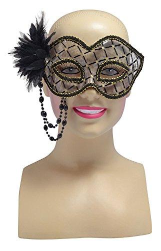 Black/Gold Transparent+Beaded Chain, Glasses Frame Mask, Fancy Dress, Accessory