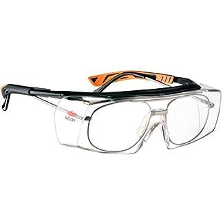 NoCry – Gafas de seguridad con lente óptica anti rasguños – Certificaciones ANSI Z87 y OSHA – varillas ajustables y protección (contra rayos de sol) UV 400 – marco negro y naranja