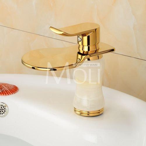 tougboo di alta qualità placcato Classic dorata del foro singolo Miscelatore lavabo rubinetto Light Green