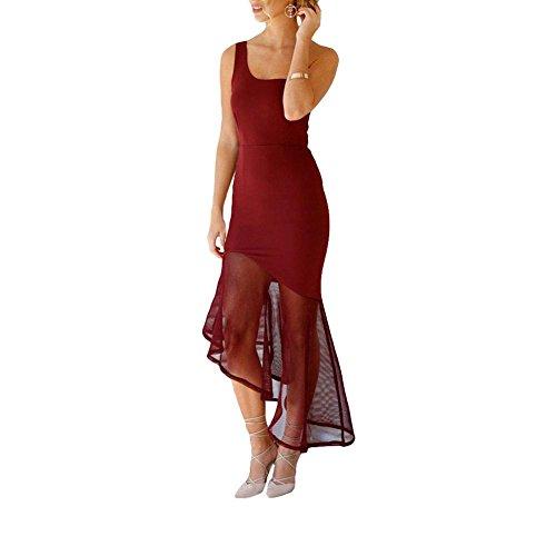 PU&PU Femmes Formal / Travail / Party Une épaule sans manches Robe sirène asymétrique, Patchwork Wine Red
