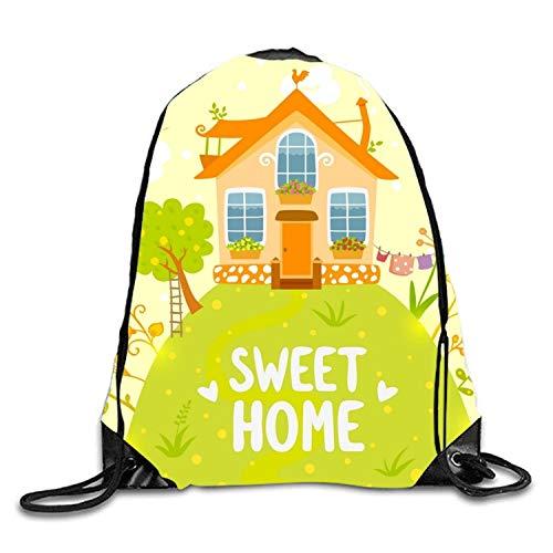 5b74b5da7430 uykjuykj Bolsos De Gimnasio,Mochilas,Fall In Love Sackpack Drawstring  Backpack Waterproof Gymsack Daypack For Men Women Green Sweet Home7  Lightweight ...