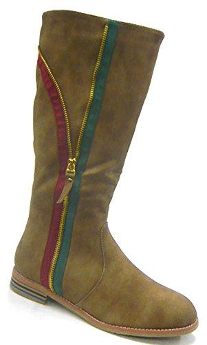 Schuh-City Dick gefütterte Kunst Fell Winter Boots Damen Schuhe Stiefel Braun