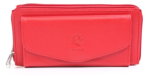 Leatherette Women's Wallet with front mobile pocket. Wallet Purse for Girls - Red