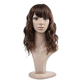 MelodySusie Women's Brown Curly Wig Medium Heat Resistant Length Natural Strawberry Blond Full Wavy Wigs For Ladies Cosplay Costume Halloween Party Hair Wig with Free Wig Cap