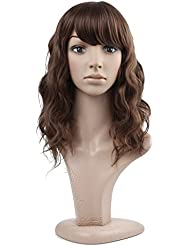MelodySusie Women s Brown Curly Wig Medium Heat Resistant Length Natural  Strawberry Blond Full Wavy Wigs For 8a8b6b05a8