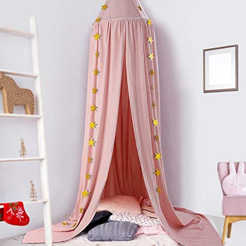 Ceekii baldacchino da letto per bambini, cupola rotonda per bambini,tenda kids princess play zanzariera in cotone appesa per culla stanza decorazioni,tenda da gioco per bambini nursery play room decor