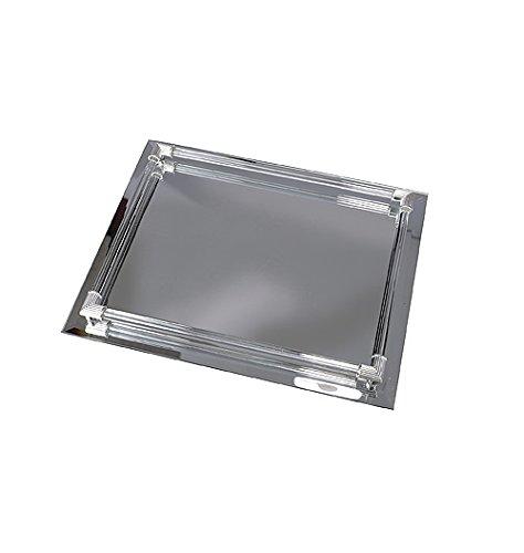 Harry D Koenig rechteckig, verspiegelte Vanity Tablett mit Glas Galerie Ruten - Gespiegelte Möbel Aus Glas