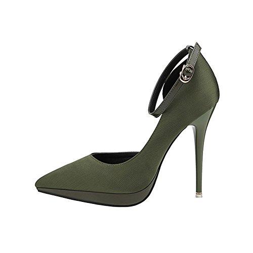 CBDGD Künstliche PU Frauen Schuhe Frühling und Sommer flachen Mund High Heels Sandalen dünne High Heel Plattform Hochzeit Partei einzelne Schuhe rot schwarz grün Aprikose 34-39cm High Heels -