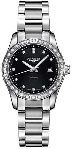 Longines Conquista clásico Automático Diamante Bisel Diamante marcadores exposición al reloj de mujer