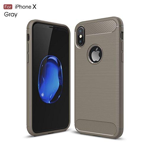 DBIT iPhone X Custodia ,Coperchio di Protezione Compatto in Fibra di Carbonio con Cassa Antiurto in Silicone Ultra Morbido e Leggero TPU Case Cover per iPhone X Smartphone,Blu Grigio