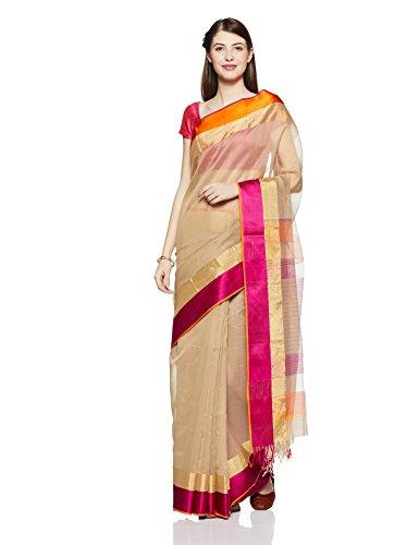 Gocoop Silk Saree With Blouse Piece (GCMAHSCSAA0144_Beige_One Size)