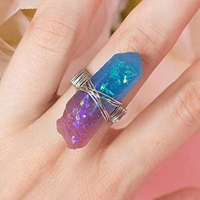 Bague Rinie, bague en forme de cristal en faux opale violet et bleu avec cadeau magique