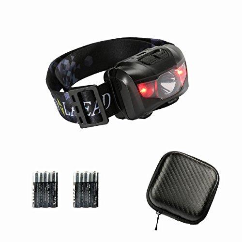 Leichtgewicht und Ultra Helle Stirnlampe mit 6 AAA Batterien enthalten, Weiß und Rot Licht, Wasserdichte, Schützend Hartschalenbox, Einstellbar Stirnband und Leicht, Ideal fürs DIYer, Laufen, Radfahren, Zelten, Wandern, Arbeiten, Lesen(Black)