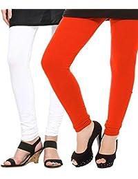Spring Up White Orange Woman's Cotton Lycra Premium Leggings (Pack Of 2)