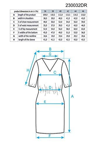 Ennywear 230032 Robe Feminine Top Qualité Au Genou Bicolore Façon Libre Manches 3/4 Col En V- Fabriqué En UE bleu marine-blanc
