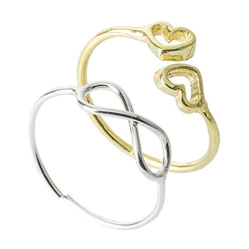 Córdoba Jewels |Set de 2 anillos realizado en plata de ley 925 bañada en rodio y oro. Diseño con símbolo de infinito y corazones frontales. Modelo ajustable.