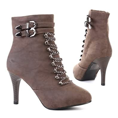 Woman's Shoes, Ankle Boots, Synthetic high-quality leather look, L025, khaki, size 7