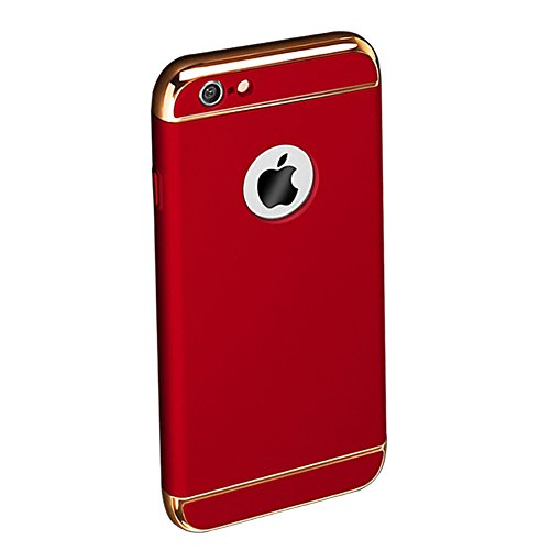 Custodia per Apple iPhone 6 Plus/ 6S Plus Cover,Herzzer Mode Creativo Elegante Hard PC 3-in-1 Placcatura Opaco plating Rosso Bumper caso,protettiva in plastica duro della copertura ha placcato il Cass Rosso