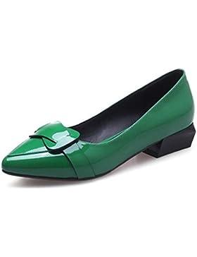 Beauqueen Bombas Moda Slip-on plana elegante Mary Janes cuero superior punta-dedo del pie zapatos casuales UE...