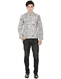 Beautiful Straight Printed Cotton White Men's Short Kurta from the house of Aprique Fab