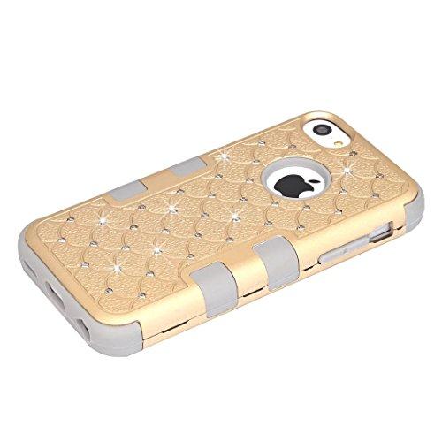 iPhone 5C hüll,Lantier 3 in 1 Combo verziert Rhinestone Kristall Bling Elegant Dual Layer Hybrid Anti Kratzer Shockproof robuste Schutzhülle für Apple iPhone 5C Gold+Gelb Cute Rhinestone Gold+Grey