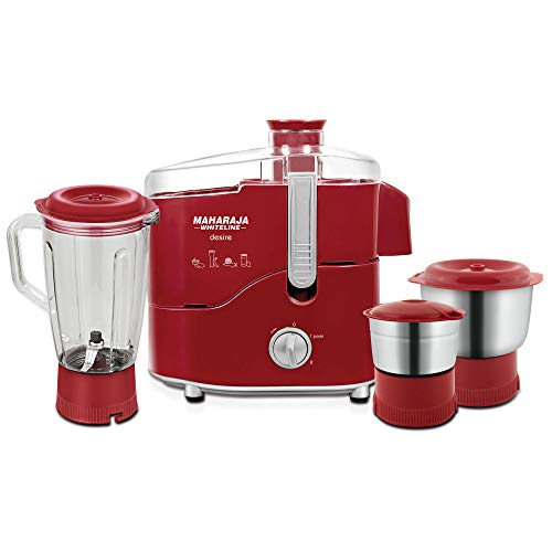 Maharaja Whiteline Desire Red Treasure 550-Watt Juicer Mixer Grinder (Red/Silver)