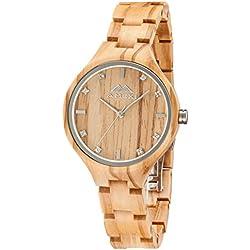 Amexi Reloj de madera para mujer, hecho a mano mujeres relojes de madera para señoras con banda ajustable de Minium, liviano y cómodo
