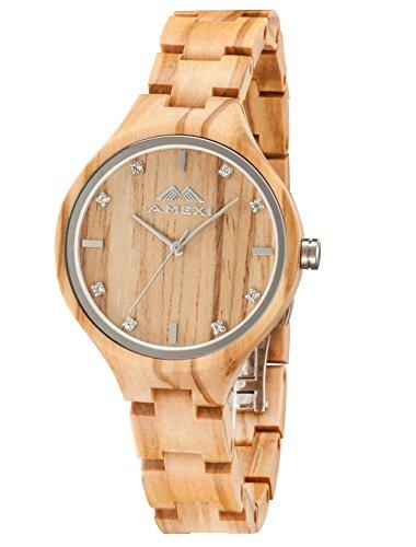 Amexi Holzuhren Damen Frauen Uhr Holz Armbanduhr mit verstellbarem Mini Armband und Quarzwerk