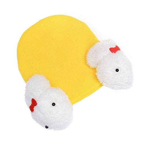DAYAN Bambino bambini della ragazza dei ragazzi inverno Flap caldo coniglio cappello Beanie della protezione del crochet color giallo
