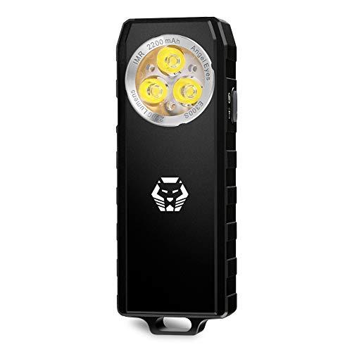 RovyVon E300 S Angel Eyes, Taschenlampe, 1200 Lumen, NICHIA LED CRI 90+, IP65, 90 Minuten schnell aufladbar, EDC-Taschenlampe, Aluminiumlegierung (Schwarz) (Cri Led-taschenlampe)