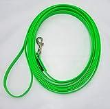 elropet Biothane® Fährtenleine 9mm mit Handschlaufe Schleppleine Suchleine Hundeleine Ausbildungsleine (7m, neongrün)