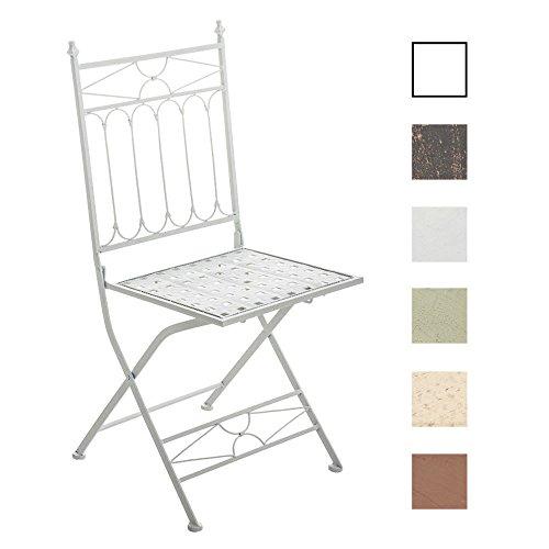 CLP Eisen-Klappstuhl ASINA Design I Klappbarer Gartenstuhl mit edlen Verzierungen I erhältlich Weiß