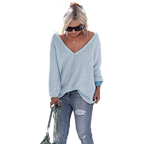 OverDose Las mujeres de manga larga de punto suéter flojo Pullover Puente Tops Prendas de punto